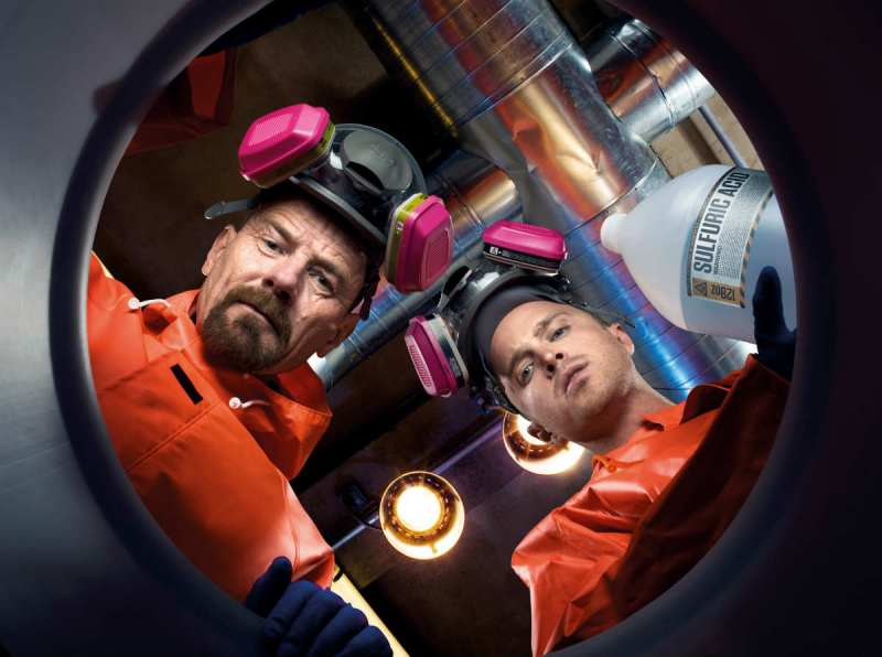 Walter White and Jesse Pinkman starting their chemistry experiments