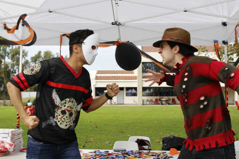jason voorhees and freddy krueger go head to head on the stage of the halloween contest - Halloween Contest Prizes