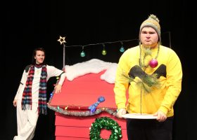 Chris Fine who plays Charlie Brown performs in a scene with Pierce Livingston who plays Snoopy at the McKinney Theatre. (Courtesy of Saddleback arts)