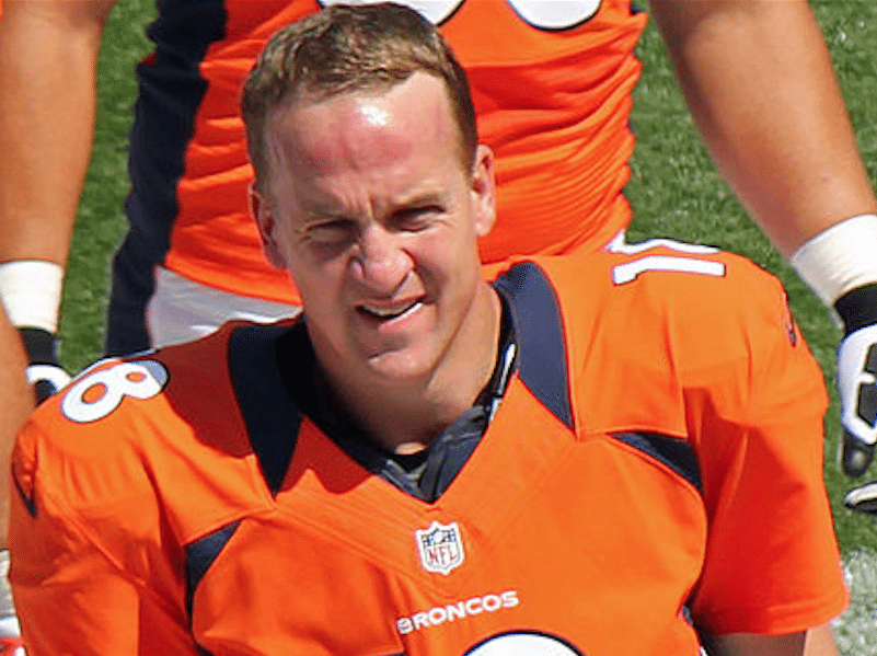 Peyton Manning on the Denver Broncos sideline during a preseason game on August 26, 2012. (Jeffrey Beall/Wikimedia Commons)