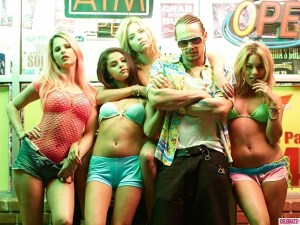 James Franco, Vanessa Hudgens, Selena Gomez, Ashley Benson and Rachel Korine star in Spring Breakers, a film that hopefully has more sex and violence than Saddleback College students' spring break. (A24)