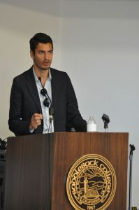 Saddleback College Pre-Law Society President Pontus Goeransson speaks at the LSAT debate on Tuesday, April 19 in Mission Viejo, California. (Matthew Kirkland/ Lariat)
