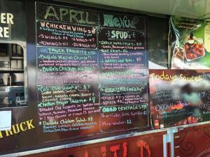 The Buffalo sauce-heavy menu for the Buffalo truck. (Jacob Tatham/Lariat)