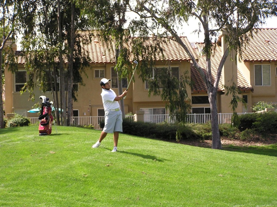 Golfer Roberto Lievana golfing prior to his injury in the afternoon round during the Orange Empire Conference Championships.