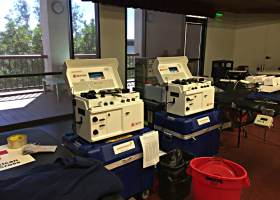 Some of the equipment used by the Red Cross at the donation center. (Mackenzie Quinn/Lariat)