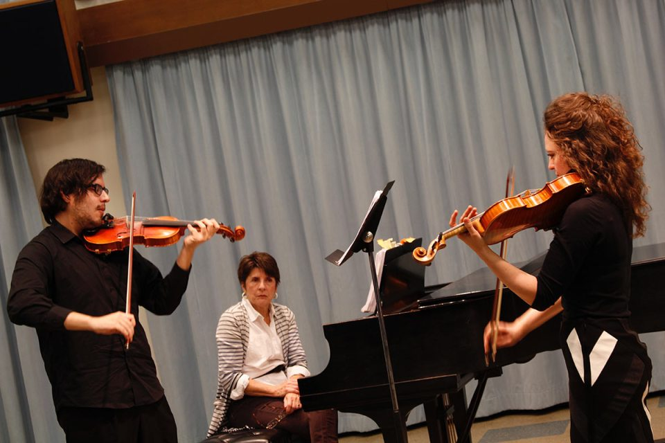Jose Garcia Velasquez plays alongside with Canadian violinist Iryna Krechkovsky.
