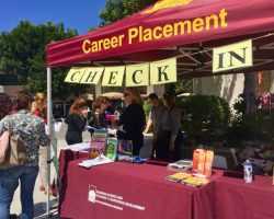 Over 100 businesses and organizations had booths at the Saddleback College Career Fair on Wednesday, April 12, 2017. (Mae Muldez)