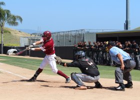 Saddleback College's Adam Gordon hits a 2-RBI single to give the Gauchos a 3-1 lead in Tuesday's matchup against Riverside College. (Ethan Catanghal)