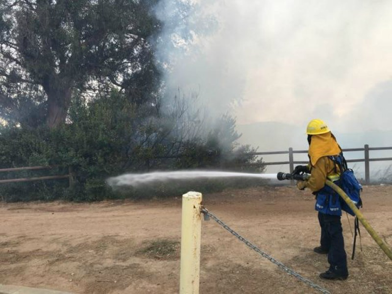 Fire fighters race to contain the Canyon Fire 2, putting out small brush fires to prevent further damage. (Courtesy of OCFA