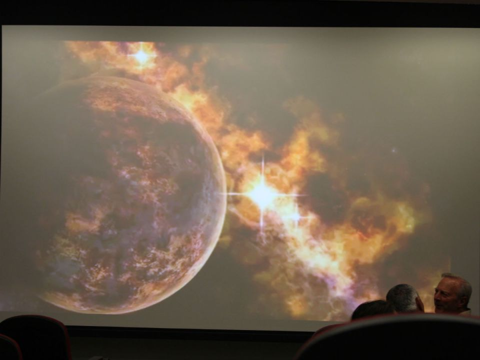 Director Tony Hardy presents some filtered photos of the cosmos. (Colin Reef/Lariat)