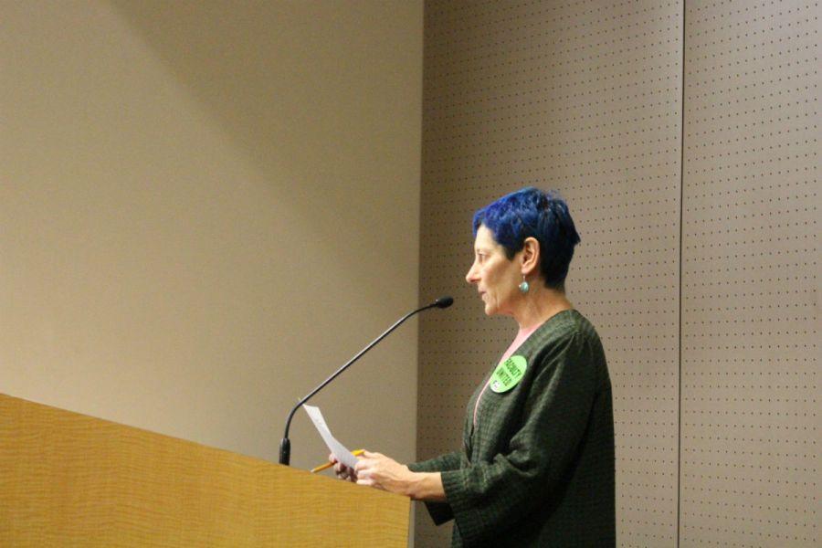 Saddleback College Women's Studies Professor Margot Lovett addresses the South Orange County Community College District Board of Trustees (Joseph Fleming/Lariat)