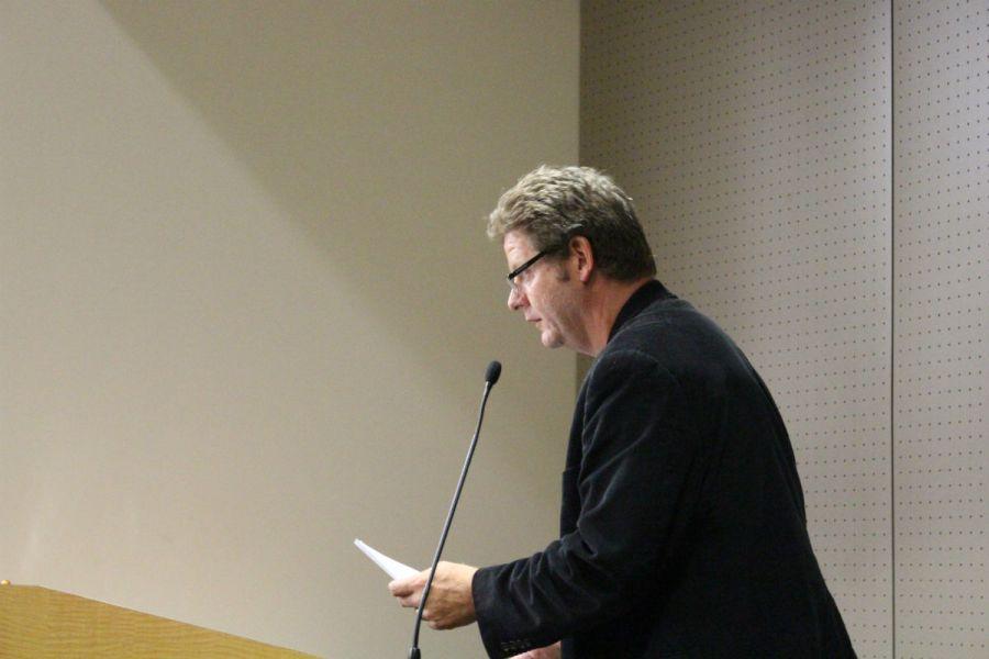 Irvine Valley College English Professor Kurt Meyer addresses the South Orange County Community College District Board of Trustees (Joseph Fleming/Lariat)