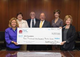 SOCCCD Trustee member Marcia Milchiker presenting a check of $4,137 to Houston Community College's officials Wednesday, Nov. 1. (Courtesty of Houston Community College)