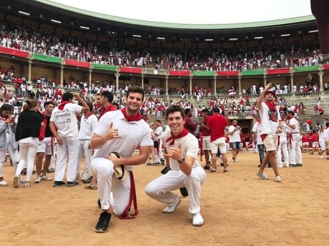 Saddleback study abroad student, Ryan Gates, at the Plaza de Toros during the bull run in Pamplona, Spain last summer.
