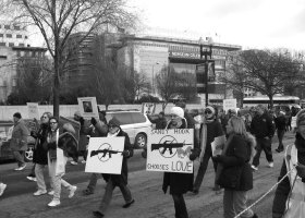 Advocates for gun control march in protest in Washington, DC in the winter 2013. (Wikimedia/Slowking4)