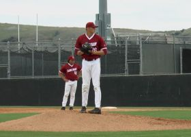 Pitcher Tanner Brubaker, takes a deep breath while he throws the first pitch of the inning. (courtesy of Cain Hernandez)