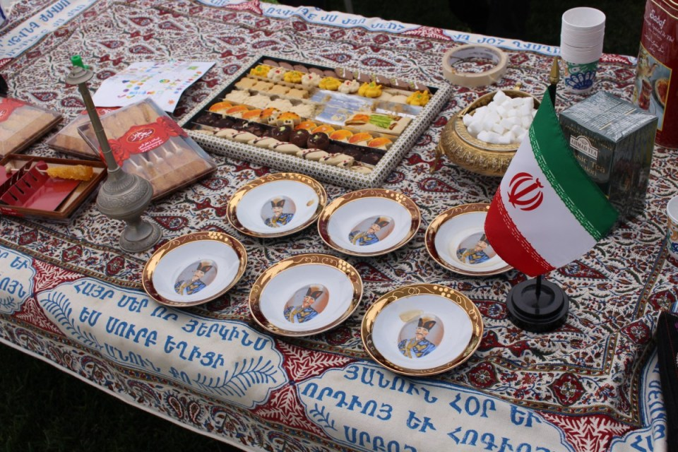 "The Iranian booth at Saddleback College's ""Around the World"" event on Monday, April 23. (Jonathan Cruce)"