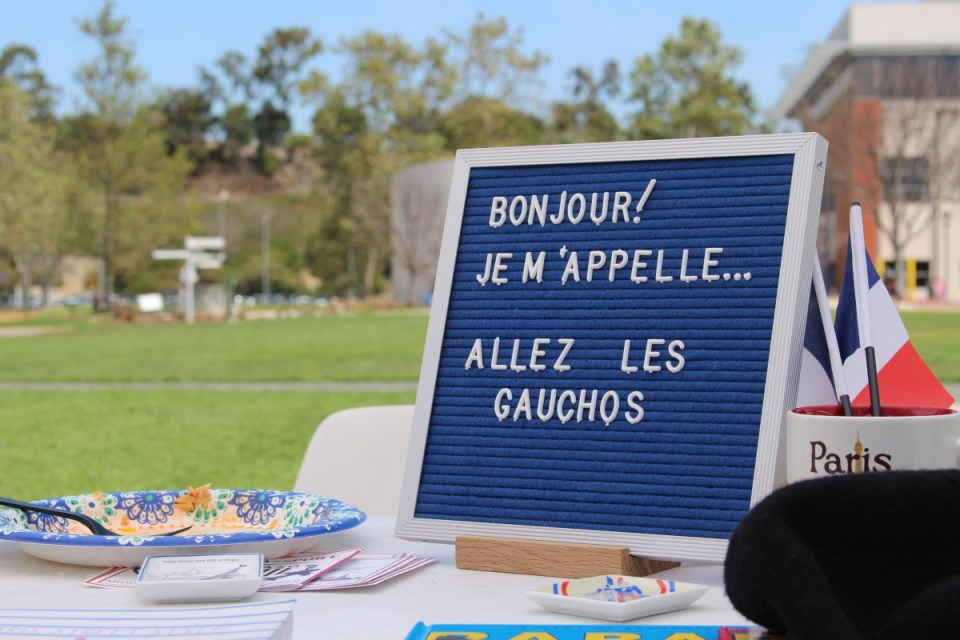 "The French booth at Saddleback College's ""Around the World"" event on Monday, April 23. (Jonathan Cruce)"