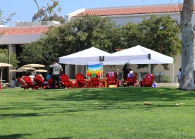 Saddleback College's Associated Student Government and the Equity and Diversity Committee assembling their event tents for GLSEN's Day of Silence on Thursday, April 26. (Ashley Hern)