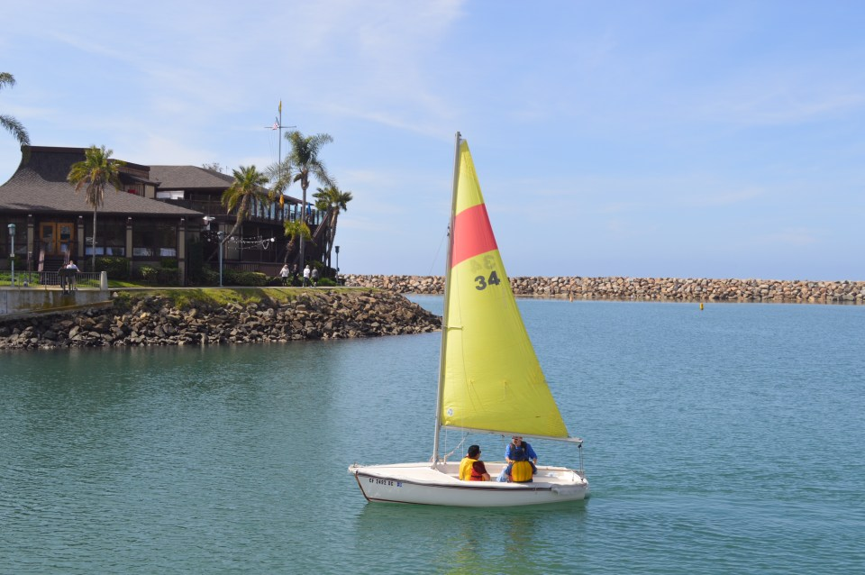 Former student Marty Stoland of the adaptive kinesiology course in sailing, continues to sail every Friday with Westwind Sailing in Dana Point. (Andrea Clemett/ Lariat)