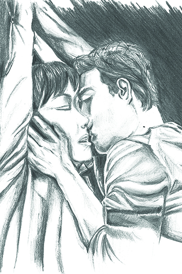 Student Cheryl Handsdick illustrates composition from erotic dream of the course syllabus. (Andrea Clemett Illustration/ Lariat)