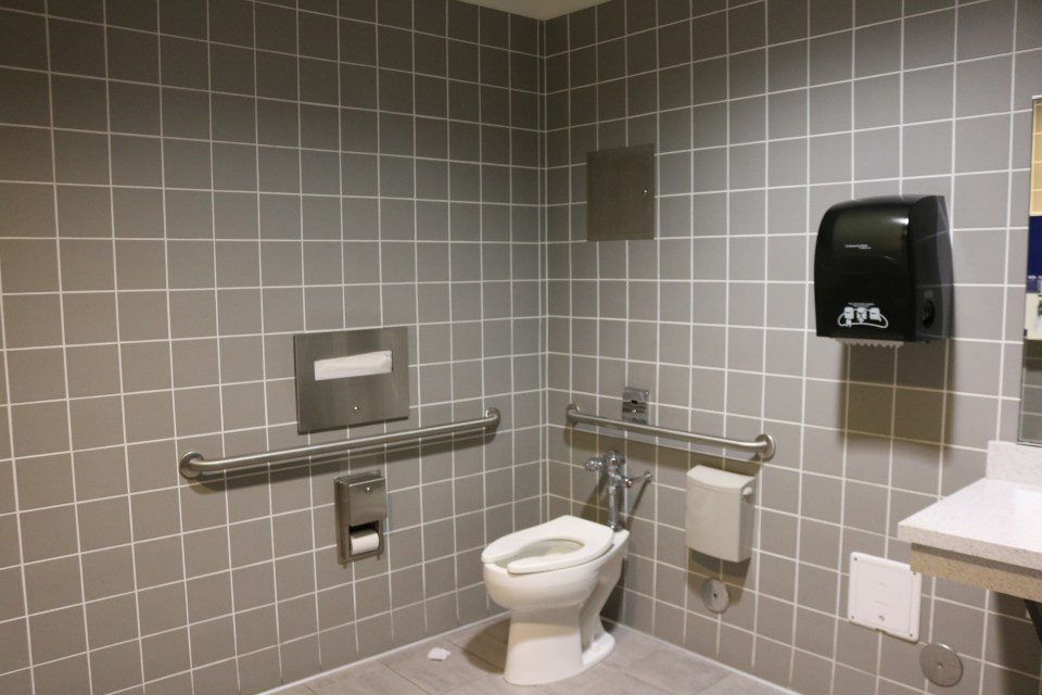 Single-unit restroom labelled as gender-neutral in the Learning Resource Center. (Ashley Hern)