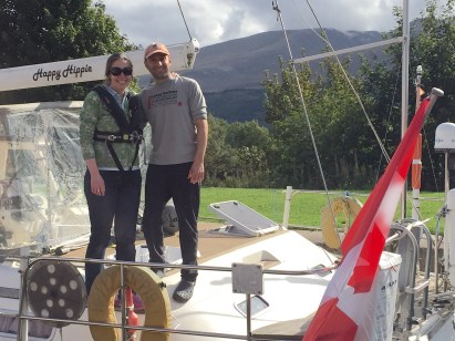 Eric and Angela under the shadow of Ben Nevis along the Caledonia Canal, Scotland.