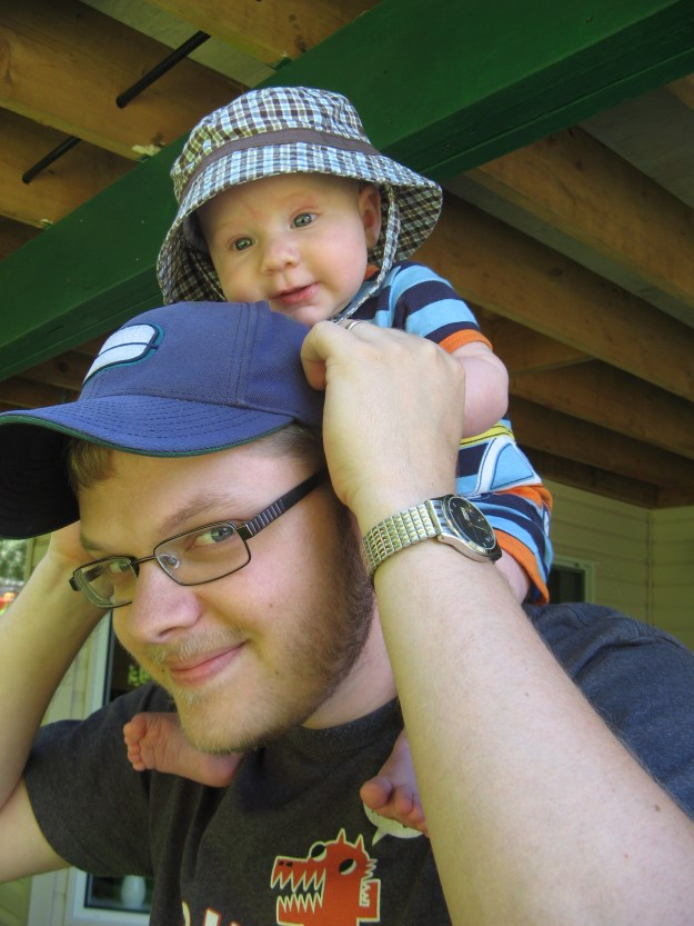 His favourite thing was always, and still is, riding daddy's shoulders.