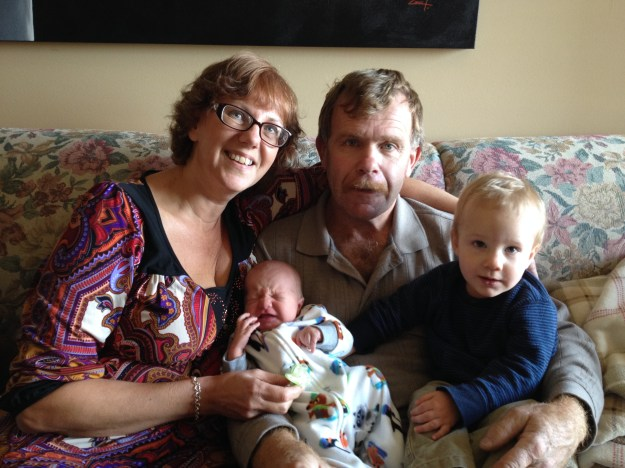 Oma and Granpda Thiessen with their prairie grandsons.