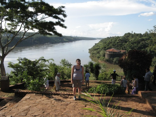 Standing in Argentina, looking at corners of Brazil and Paraguay.