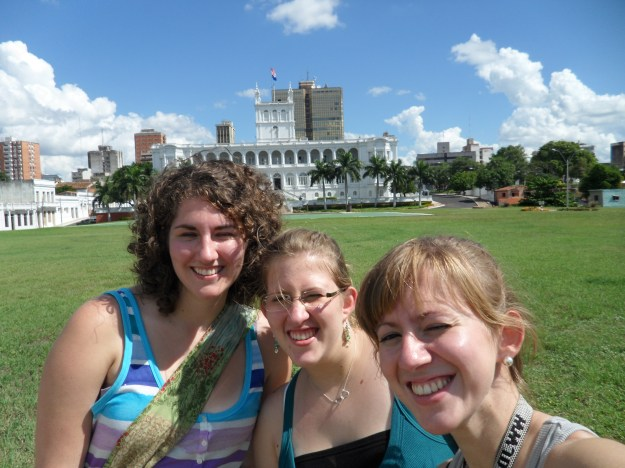 My cousins and I on a downtown excursion. This is their government building, if I remember correctly.