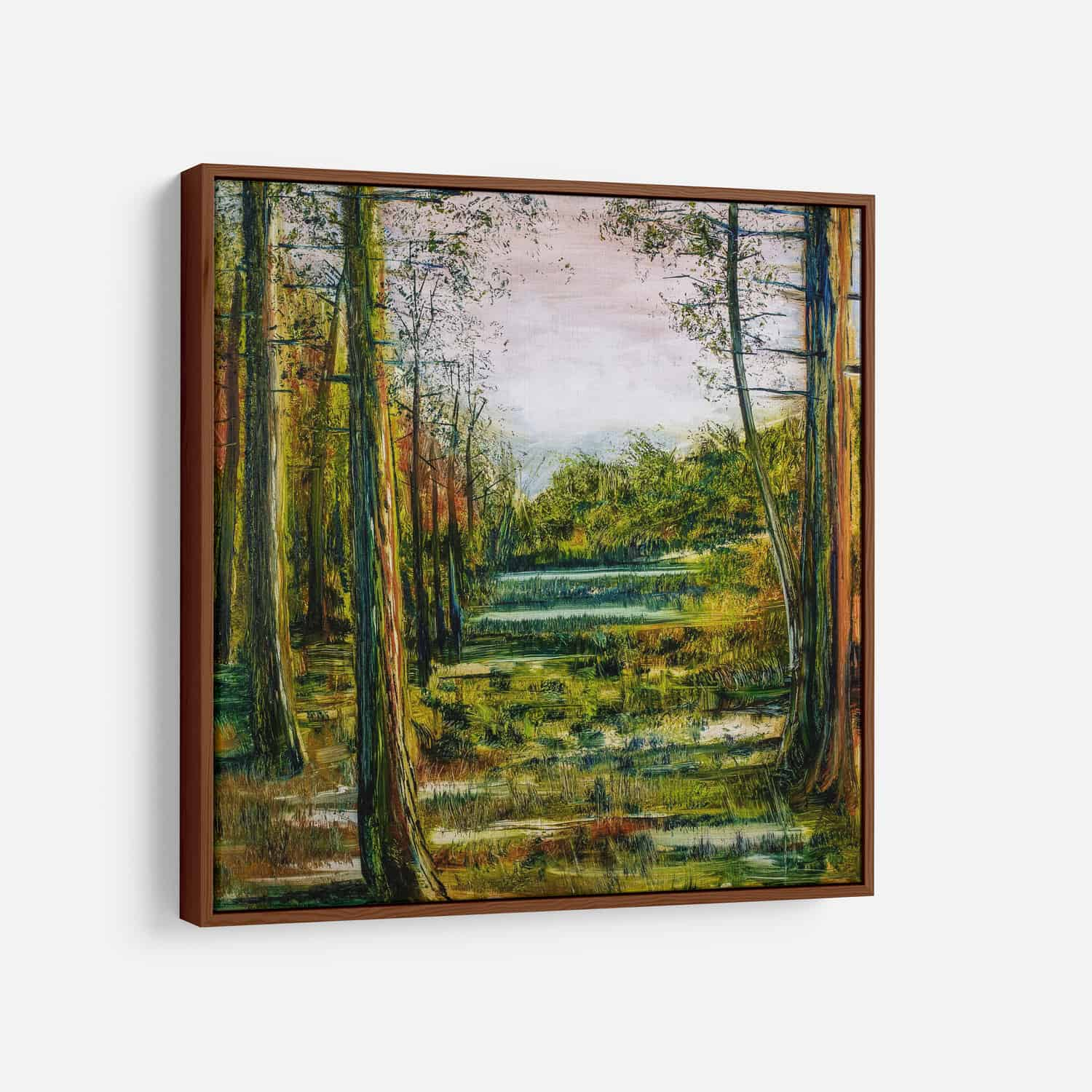 Oil painting of forest on wood panel