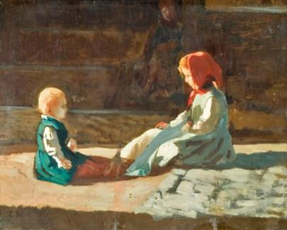 Cristiano Banti, Bimbi al sole, 1860, Olio su tavola, 32,5 x 41 cm, Piacenza, Galleria d'arte moderna Ricci Oddi