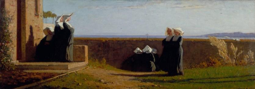 Vincenzo Cabianca, Le monachine, 1861, Olio su tela, 36 x 99 cm Viareggio, Istituto Matteucci