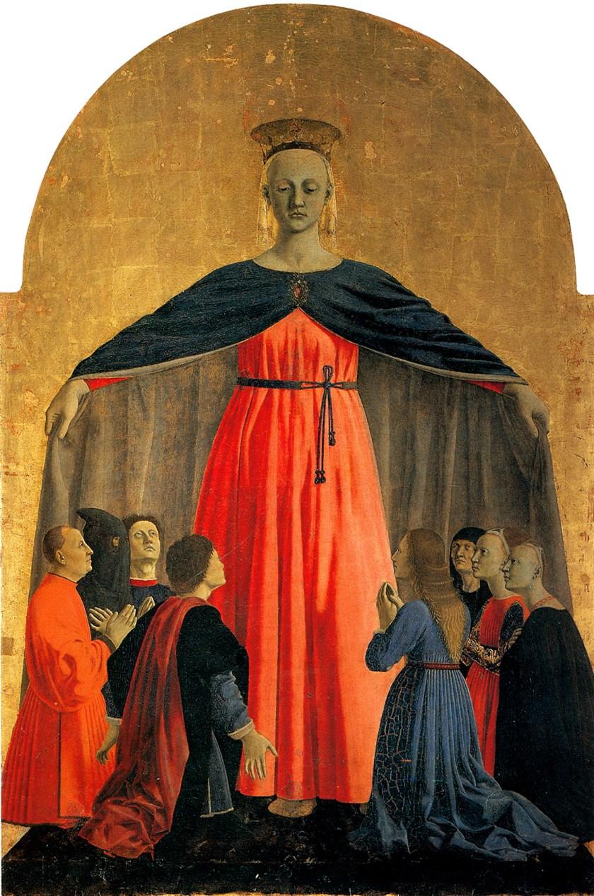 Piero della Francesca, Madonna della Misericordia, 1445-1462, olio su tavola. Museo Civico, Sansepolcro. mostra Piero a Forlì.