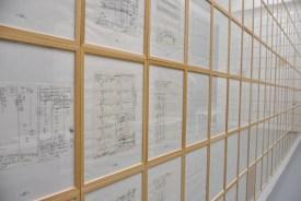 Hanne Darboven, M Opus 26 Quartet, Rutherford / Niels Bohr / Models. Installazione per la mostra inaugurale del Centro Pecci, fotografia di Andrea Paoletti.