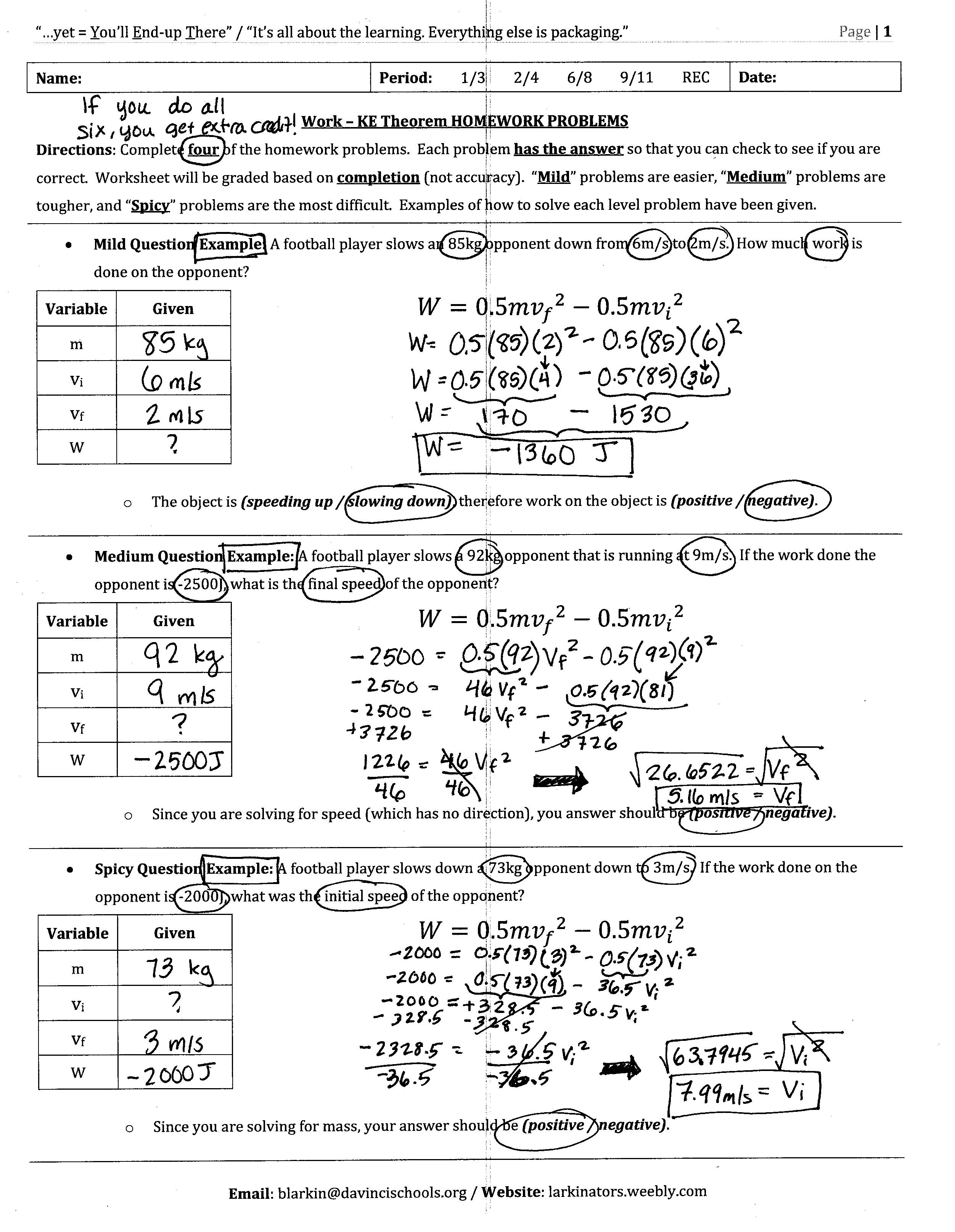 Conservation Energy Worksheet