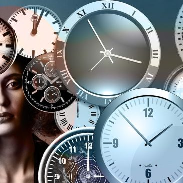 photo of a woman with clocks