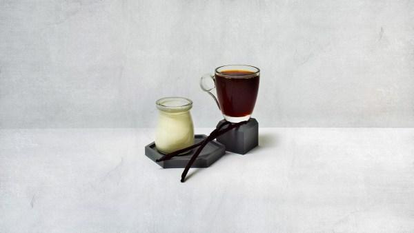 cream and coffee with vanilla beans