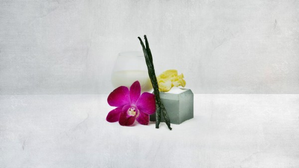 a glass of cream, vanilla beans, and sugar with a fresh orchid blossom