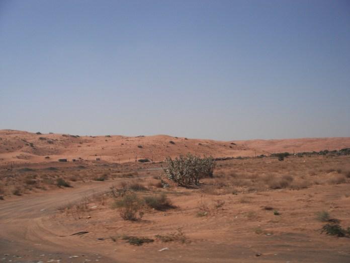 The harsh desert terrain