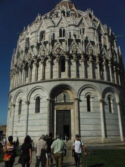 The Pisa tower involves three buildings. It was the biggest cathedral in world when built and was in fact leaning right from the beginning. The trinity buildings represent circle of life - baptist church = birth, main cathedral = present life, Pisa tower = ascension to heaven.