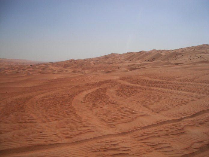 Tracks left by 4WD SUVs on the Wahiba Sands