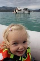 Poppy in the dinghy