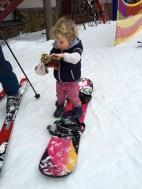 James on my snowboard