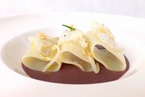 pasta senza glutine con baccalà e crema di fagioli azuki