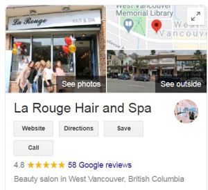 La Rouge Hair and Spa Google Business