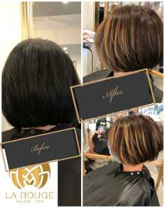 Ladies Hair cut and color before and after