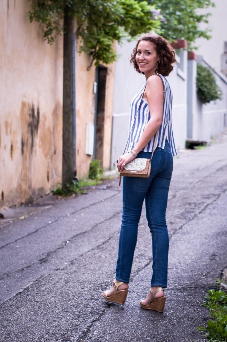 look casual chic - total look bleu - blog mode lyon