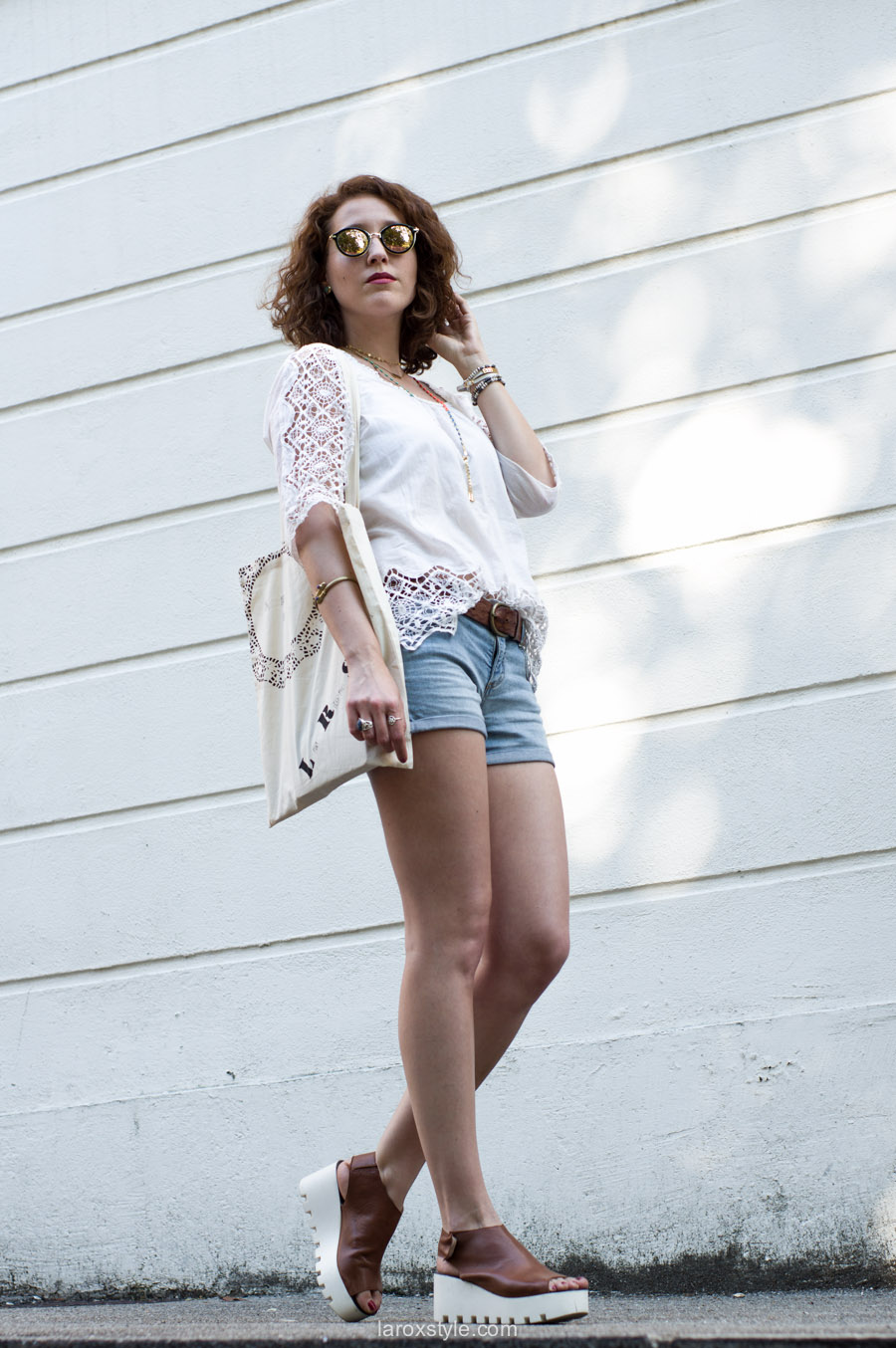 Denim Short & Romantic Blouse